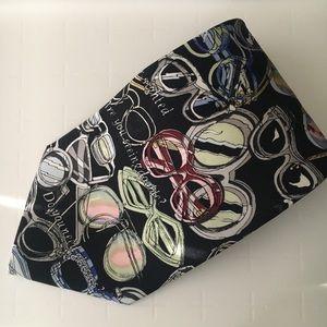 Vintage Nicole Miller glasses print black silk tie
